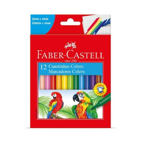 Canetas Colors Hidrografica Com 12 Unidades Faber Castell