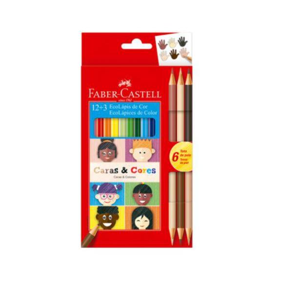 Lapis De Cor 12 Cores Ecolapis e 3 Caras Cores Faber Castell