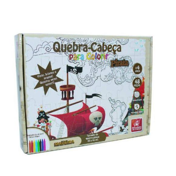Quebra Cabeça Para Colorir Pirata - Educativo em Madeira