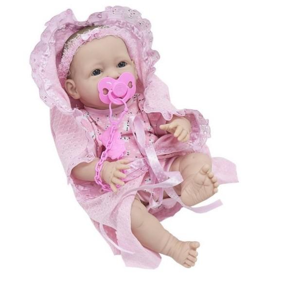 Boneca Bebê Newborn Faz Xixi C/ Mamadeira E Chupeta 36 Cm