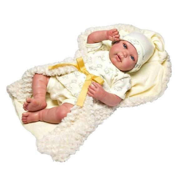 Boneca Bebê Reborn Olhos Abertos Roupa Bege Baby Brink 1265
