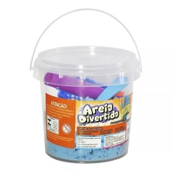 Areia Divertida Mágica Balde 400g C/ Acessórios - Fácil Remover