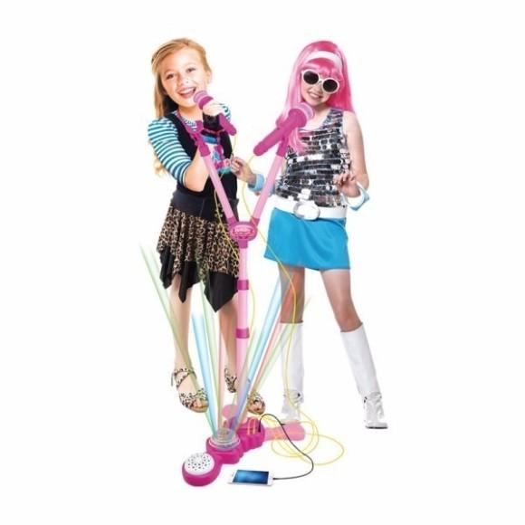 Microfone Musical Infantil Duplo Com Pedestal Rock Girl 120cm Com Luz A Pilha Na Caixa