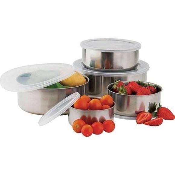 Conjunto De Potes E Tigelas Organizadoras Inox Com Tampas 5 Peças Feito De Material Resistente