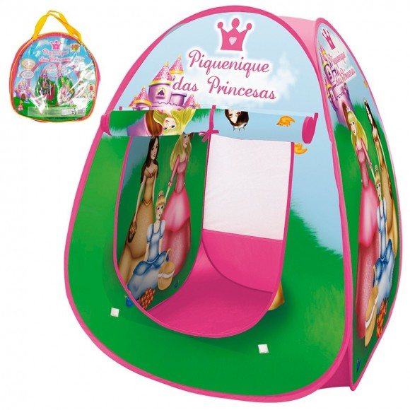Barraca Barraquinha Toca Ilgu Cabana Infantil Dobravel Pop Up Piquenique Das Princesas Com Bolsa