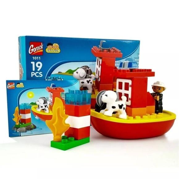 Blocos Tipo LEGO Montar Barco De Bombeiros 19 Peças Grandes Gorock - 1011