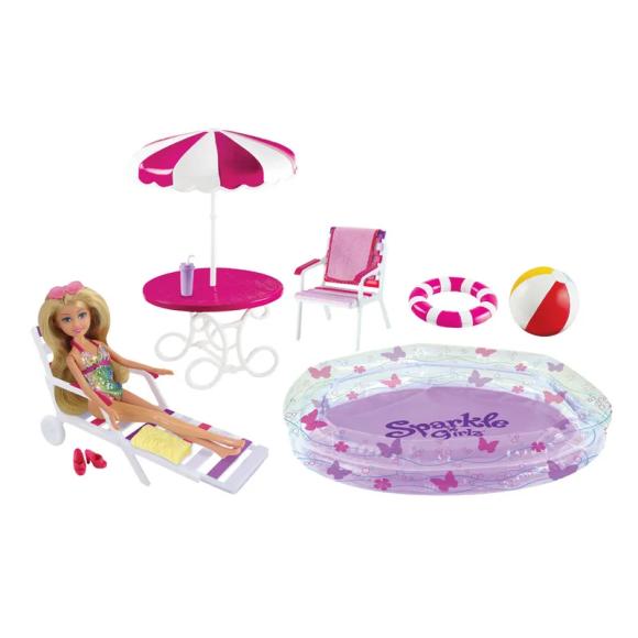 Boneca e Acessórios - Sparkle Girlz - Festa da Piscina - DTC