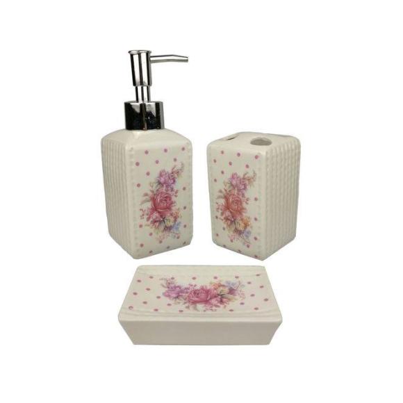 Kit Banheiro Porcelana Flower Porta Sabonete Liquido Porta Escovas E Saboneteira - Wincy
