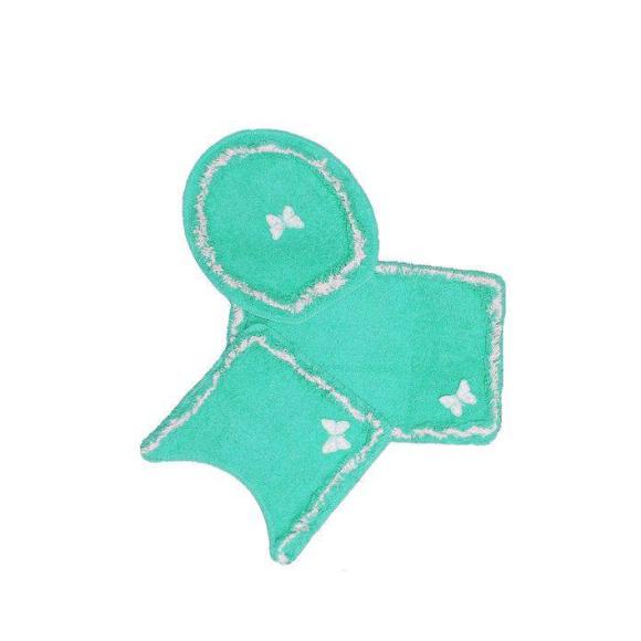 Jogo Para Banheiro Delicato 3 Peças verde Água - Tapetes Miriam